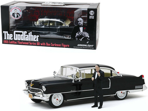 1955 CADILLAC FLEETWOOD DON CORLEONE FIGURE THE GODFATHER 1/18 SCALE DIECAST CAR MODEL BY GREENLIGHT 13531