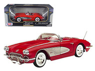 1958 Chevrolet Corvette Convertible Red 1/18 Scale Diecast Car Model By Motor Max 73109