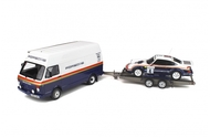 ROTHMANS PACK RALLY SET TRAILER VOLKSWAGEN VAN & PORSCHE 1000 PISTES 1984 SET OF 3 1/18 SCALE BY OTTOMOBILE OT331