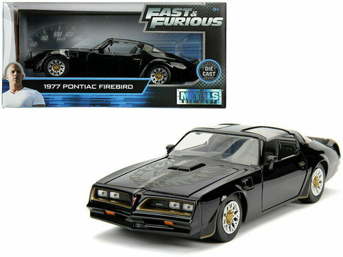 1977 PONTIAC FIREBIRD TEGO BLACK FAST & FURIOUS 1/24 SCALE DIECAST CAR MODEL BY JADA TOYS 30756