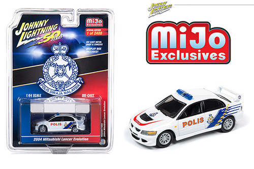 MITSUBISHI LANCER MALAYSIA POLICE MIJO EXCLUSIVE LIMITED EDITION 2400 PIECES 1/64 SCALE DIECAST CAR MODEL BY JOHNNY LIGHTNING JLCP7213