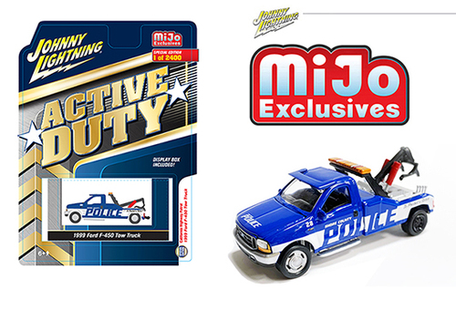 1999 FORD F-450 POLICE TOW TRUCK WRECKER ACTIVE DUTY MIJO EXCLUSIVE LIMITED EDITION 2400 PIECES 1/64 SCALE DIECAST CAR MODEL BY JOHNNY LIGHTNING JLCP7255