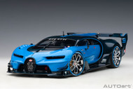 BUGATTI VISION GRAN TURISMO LIGHT BLUE RACING BLUE CARBON SUPERCAR 1/18 SCALE MODEL CAR BY AUTOART 70986