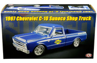 1967 CHEVROLET C-10 PICKUP TRUCK BLUE SUNOCO SHOP TRUCK 1/18 SCALE DIECAST MODEL BY ACME A 1807211