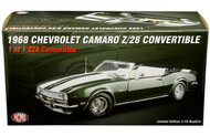 1968 CHEVROLET CAMARO Z/28 CONVERTIBLE METALLIC DARK FATHOM GREEN 1/18 SCALE DIECAST CAR MODEL BY ACME A 1805715