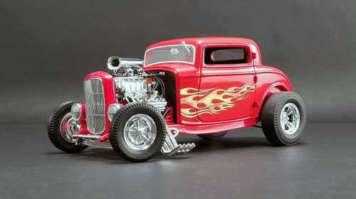 1932 FORD BLOWN 3 WINDOW HOT ROD FLAMETHROWER RED WITH FLAMES 1/18 DIECAST CAR MODEL BY ACME A 1805016