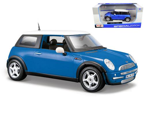 Mini Cooper Blue 1/24 Scale Diecast Car Model By Maisto 31219