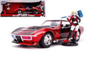 1969 CHEVROLET CORVETTE STINGRAY HARLEY QUINN FIGURE HOLLYWOOD RIDES 1/24 SCALE DIECAST CAR MODEL BY JADA TOYS 31196