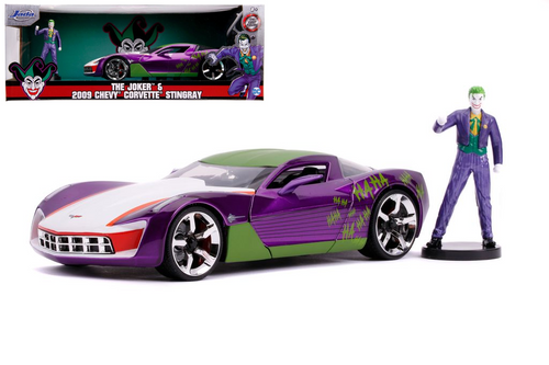 2009 CHEVROLET CORVETTE STINGRAY CONCEPT JOKER FIGURE HOLLYWOOD RIDES 1/24 SCALE DIECAST CAR MODEL BY JADA TOYS 31199
