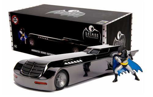 ANIMATED SERIES BATMAN BATMOBILE CHROME WITH DIECAST FIGURE 2019 SDCC SAN DIEGO COMIC CON EXCLUSIVE 1/24 SCALE DIECAST CAR MODEL BY JADA TOYS 30700