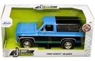 1980 CHEVROLET BLAZER K5 BLUE & BLACK JUST TRUCKS 1/24 SCALE DIECAST CAR MODEL BY JADA TOYS 31598
