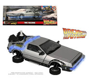 BACK TO THE FUTURE DELOREAN TIME MACHINE WITH LIGHTS BTTF 1/24 SCALE DIECAST CAR MODEL BY JADA TOYS 31465