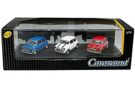 Mini Cooper 3 Car Set Red White & Blue In Acrylic Case 1/72 Scale Diecast Car Model By Cararama 71310