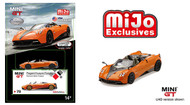 PAGANI HUAYRA ROADSTER ARANCIO SAINT TROPEZ MIJO EXCLUSIVE 2400 MADE 1/64 SCALE DIECAST CAR MODEL BY TSM MINI GT MGT00078