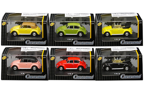 Volkswagen Beetle Bug 6 Piece Set In Acrylic Case 1/72 Scale Diecast Car Model By Cararama 711ND-021A