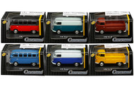 Volkswagen T1 Samba Bus 6 Piece Set In Acrylic Case 1/72 Scale Diecast Car Model By Cararama 711ND-021B