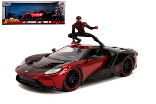 2017 FORD GT SPIDERMAN WITH MILES MORALES FIGURE 1/24 SCALE DIECAST CAR MODEL BY TOYS JADA 31190