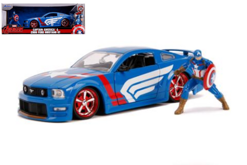 2006 FORD MUSTANG GT MARVEL AVENGERS CAPTAIN AMERICA FIGURE 1/24 SCALE DIECAST CAR MODEL BY JADA TOYS 31187