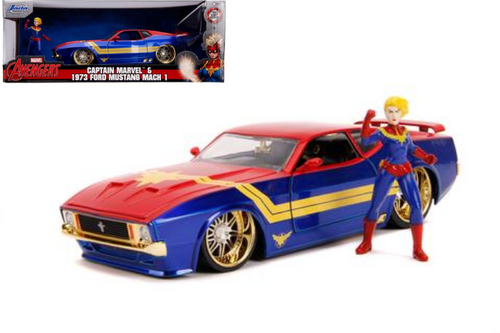 1973 FORD MUSTANG MACH 1 AVENGERS CAPTAIN MARVEL FIGURE 1/24 SCALE DIECAST CAR MODEL BY JADA TOYS 31193