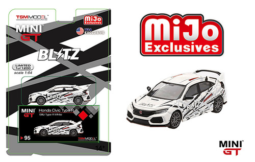 HONDA CIVIC TYPE R BLITZ WHITE MIJO EXCLUSIVE 1200 MADE 1/64 SCALE DIECAST CAR MODEL BY TSM MINI GT MGT00095