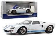 1968 FORD GT40 MKI WIDE BODY WHITE BLUE STRIPES 1/18 SCALE DIECAST CAR MODEL BY SOLIDO S1803002