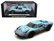 1966 FORD GT40 GT 40 MK II #1 LIGHT BLUE DIRTY VERSION 1/18 SCALE DIECAST CAR MODEL BY SHELBY COLLECTIBLES SC 405