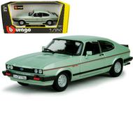 1982 FORD CAPRI GREEN 1/24 SCALE DIECAST CAR MODEL BY BBURAGO 21093