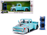 1956 FORD F-100 PICKUP TRUCK TURQUOISE WITH EXTRA WHEELS 1/24 SCALE DIECAST CAR MODEL BY JADA TOYS 31542
