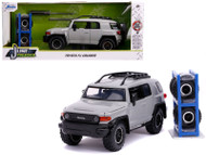 TOYOTA FJ CRUISER WITH ROOF RACK GREY WITH EXTRA WHEELS 1/24 SCALE DIECAST CAR MODEL BY JADA TOYS 31557