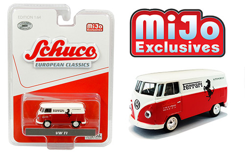 VOLKSWAGEN T1 PANEL BUS FERRARI AUTOMOBILES RED & WHITE EUROPEAN CLASSICS MIJO EXCLUSIVE 3600 MADE 1/64 SCALE DIECAST CAR MODEL BY SCHUCO 4700