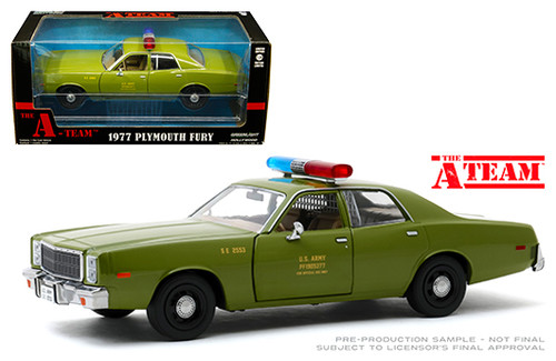 1975 PLYMOUTH FURY US ARMY POLICE THE A-TEAM 1/24 SCALE DIECAST CAR MODEL BY GREENLIGHT 84103