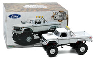 """1979 FORD F-250 MONSTER TRUCK WHITE 48"""" TIRES 1/18 SCALE DIECAST MODEL BY GREENLIGHT 13556"""