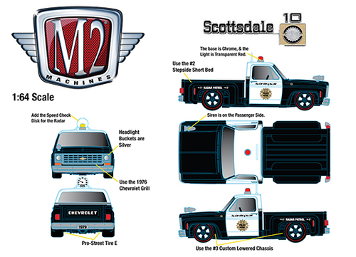 1976 CHEVROLET SCOTTSDALE POLICE PATROL PICKUP TRUCK HOBBY EXCLUSIVE 1/64 SCALE DIECAST CAR MODEL BY M2 MACHINES 31500-HS08