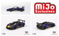 MCLAREN SENNA PURPLE / YELLOW 1200 MADE MIJO EXCLUSIVE 1/64 SCALE DIECAST CAR MODEL BY TSM MINI GT MGT00127