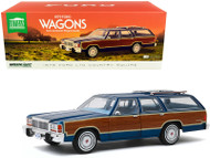 1979 FORD LTD COUNTRY SQUIRE MIDNIGHT BLUE WITH WOOD PANELING 1/18 SCALE DIECAST CAR MODEL BY GREENLIGHT 19063