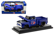 1956 FORD F-100 PICKUP TRUCK VP RACING BLUE 1/24 SCALE DIECAST CAR MODEL BY M2 MACHINES 40300-77