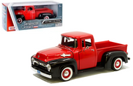 1956 FORD F-100 PICKUP TRUCK RED & BLACK 1/24 SCALE DIECAST CAR MODEL BY MOTOR MAX 73235