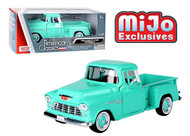 1955 CHEVROLET 5100 STEPSIDE PICKUP TRUCK TURQUOISE 1/24 SCALE DIECAST CAR MODEL BY MOTOR MAX 73236