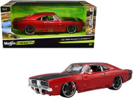 1969 DODGE CHARGER R/T RED BLACK HOOD 1/25 SCALE DIECAST CAR MODEL BY MAISTO 32537