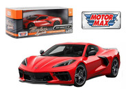2020 CHEVROLET CORVETTE C8 STINGRAY RED 1/24 SCALE DIECAST CAR MODEL BY MOTOR MAX 79360