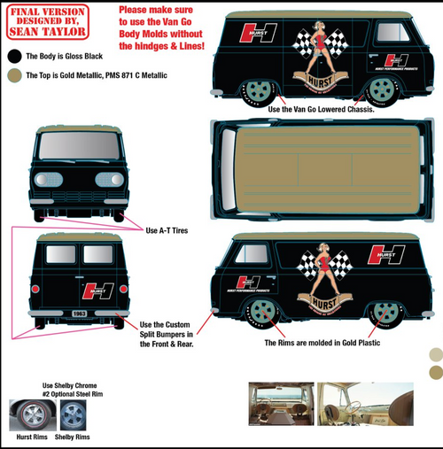 1963 FORD ECONOLINE VAN HURST LIMITED EDITION 1/64 SCALE DIECAST CAR MODEL BY M2 MACHINES 31500-HS12