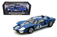 1966 FORD GT40 SEBRING #2 BLUE 1/18 SCALE DIECAST CAR MODEL BY SHELBY COLLECTIBLES SC401