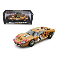 1966 FORD GT40 LEMANS #5 GOLD 1/18 SCALE DIECAST CAR MODEL BY SHELBY COLLECTIBLES SC403