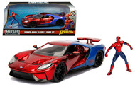 2017 FORD GT MARVEL SPIDERMAN SPIDER MAN DIECAST FIGURE 1/24 SCALE DIECAST CAR MODEL BY JADA TOYS 99725