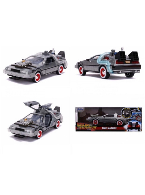 BACK TO THE FUTURE III DELOREAN TIME MACHINE WITH LIGHTS BTTF 1/24 SCALE DIECAST CAR MODEL BY JADA TOYS 32166