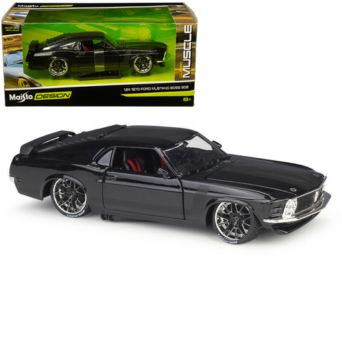 1970 FORD MUSTANG BOSS 302 BLACK 1/24 SCALE DIECAST CAR MODEL BY MAISTO 32535