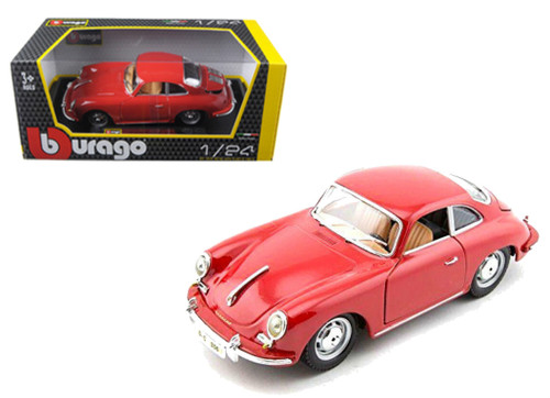 1961 PORSCHE 356 B COUPE RED 1/24 SCALE DIECAST CAR MODEL BY BBURAGO 22079