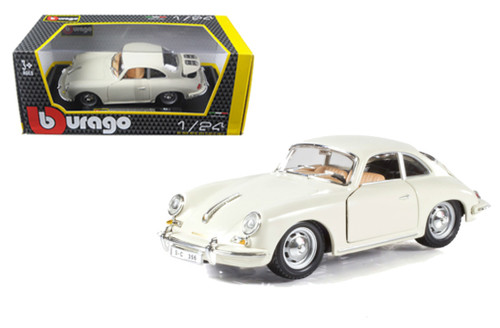 1961 PORSCHE 356 B COUPE IVORY 1/24 SCALE DIECAST CAR MODEL BY BBURAGO 22079