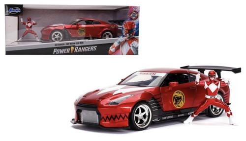 2009 NISSAN SKYLINE GT-R R35 POWER RANGERS RED RANGER DIECAST FIGURE 1/24 SCALE DIECAST CAR MODEL BY JADA TOYS 31908