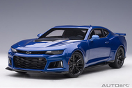 2017 CHEVROLET CAMARO ZL1 HYPER BLUE METALLIC 1/18 SCALE DIECAST CAR MODEL BY AUTOART 71209